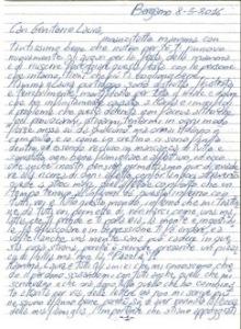 la prima pagina della lettera